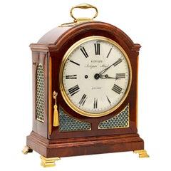 19th Century George III Mahogany Bracket Clock by Metcalfe, London