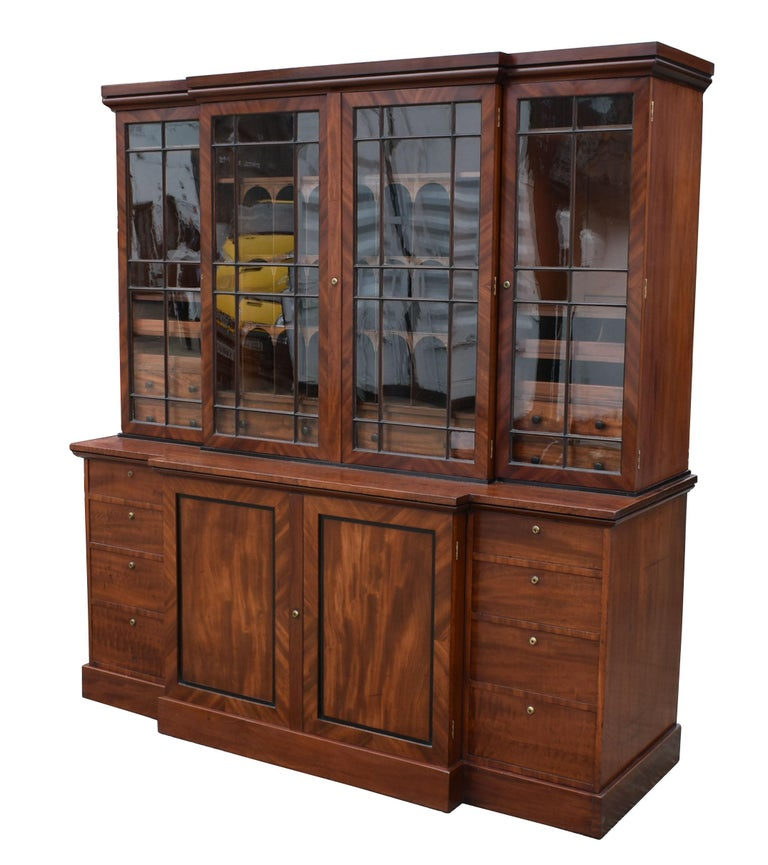 19th Century George III Mahogany Breakfront Bookcase For