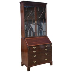 19th Century George III Mahogany Bureau Bookcase
