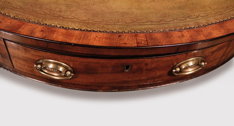 19th Century George III Mahogany Revolving Drum Table For Sale 1