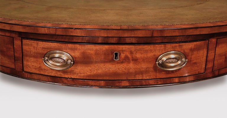 19th Century George III Mahogany Revolving Drum Table For Sale 2