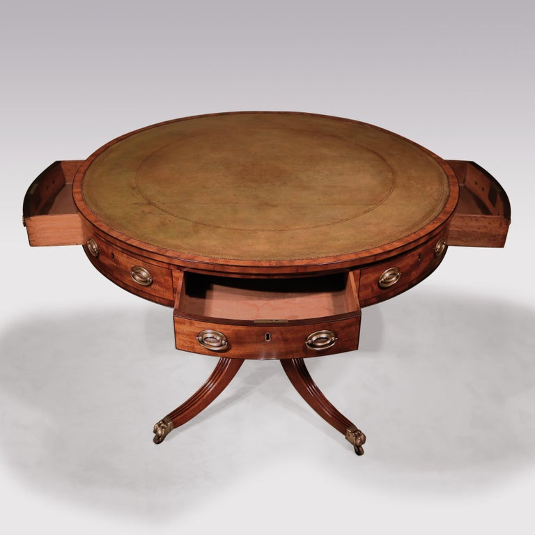 19th Century George III Mahogany Revolving Drum Table For Sale 3