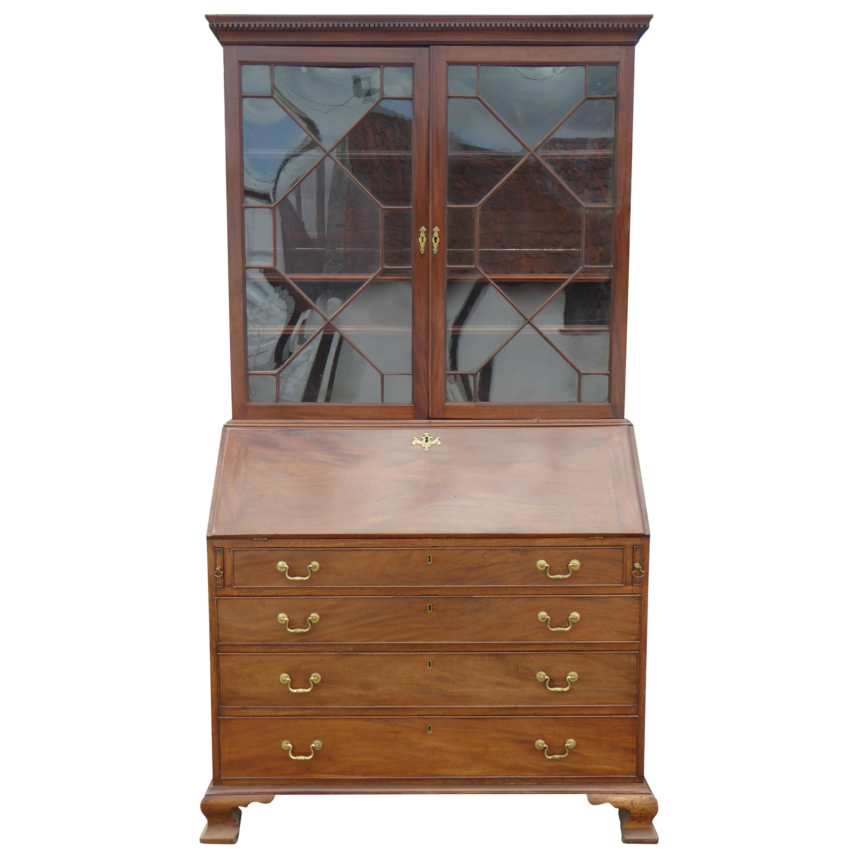19th Century George III Mahogany Secretary Bookcase