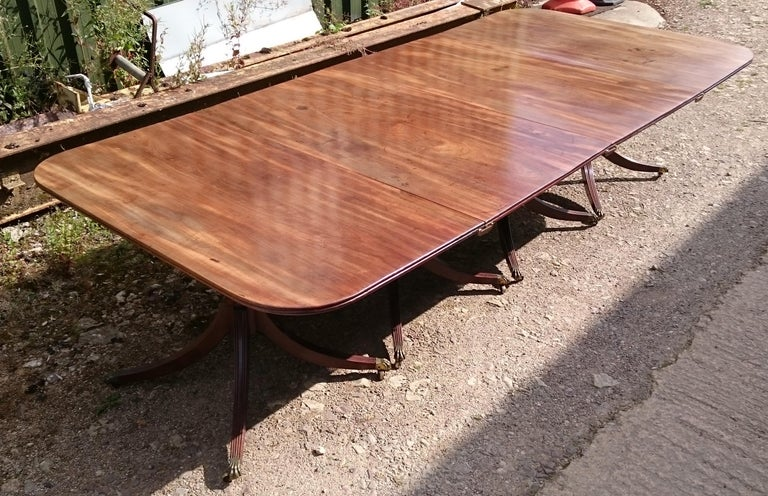 18th Century and Earlier 19th Century George III Period Mahogany Four Pedestal Antique Dining Table