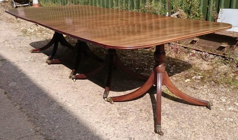 19th Century George III Period Mahogany Four Pedestal Antique Dining Table 2