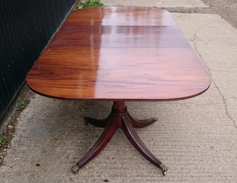 19th Century George III Period Mahogany Twin Pedestal Antique Dining Table For Sale 1