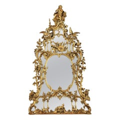 19th Century George III Style Carved Mirror after a design by Thomas Johnson