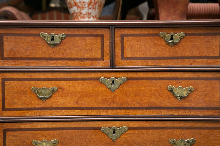 19th Century George III Style English Oak and Inlaid Chest of Drawers For Sale 3