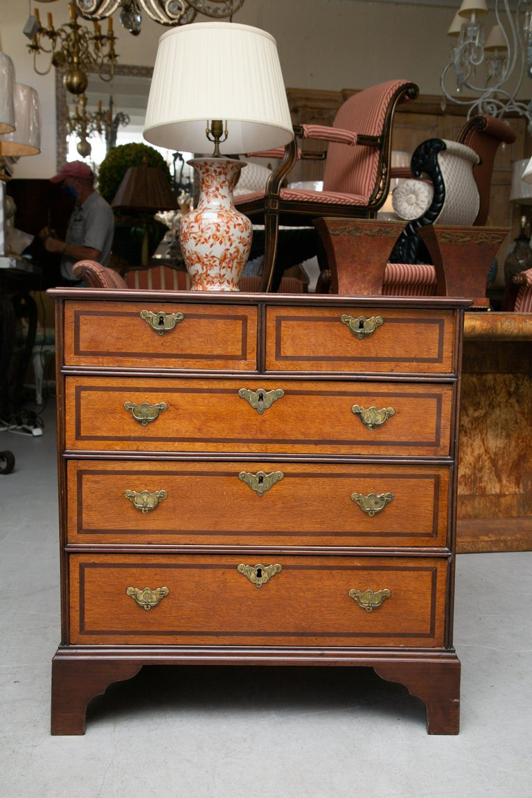 19th Century George III Style English Oak and Inlaid Chest of Drawers For Sale 4