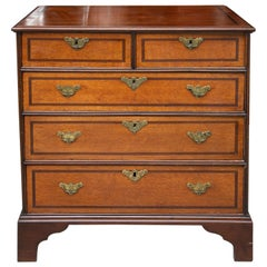 19th Century George III Style English Oak and Inlaid Chest of Drawers
