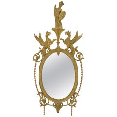 19th Century George III Style Giltwood Oval Mirror