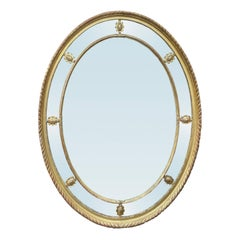 19th Century George III Style Large Oval Giltwood Mirror