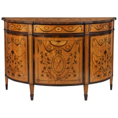 19th Century George III Style Satinwood and Marquetry Demilune Commode