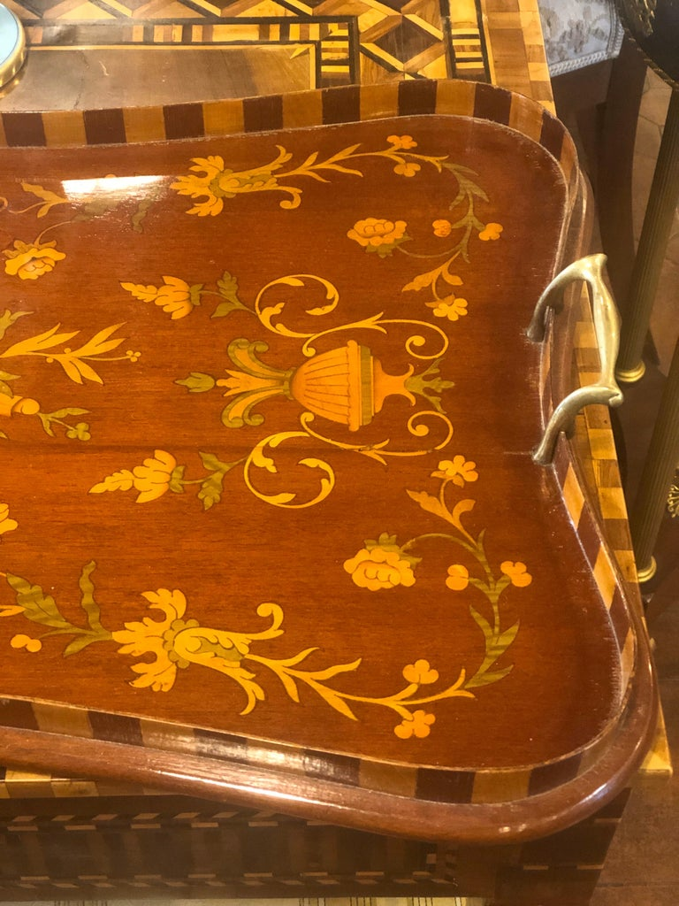 George IV 19th Century George III Wood Mahogany Inlay Tea Tray Tables Dishes, 1820s For Sale