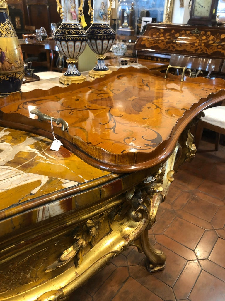 Early 19th Century 19th Century George III Wood Mahogany Inlay Tea Tray Tables Dishes, 1820s For Sale