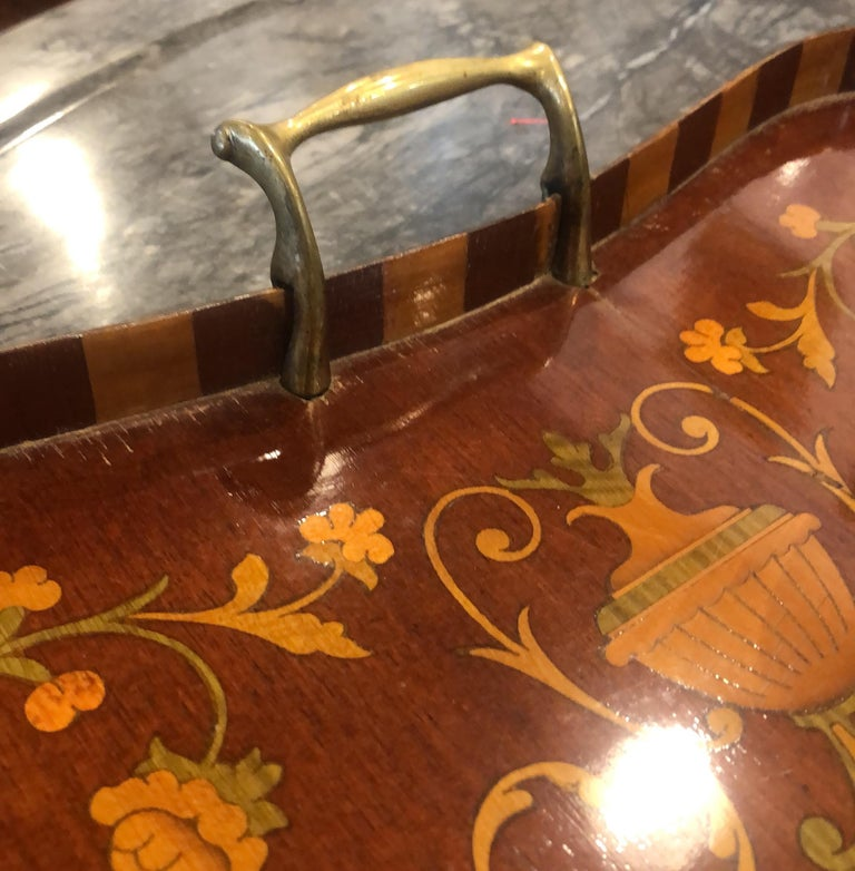 19th Century George III Wood Mahogany Inlay Tea Tray Tables Dishes, 1820s For Sale 2