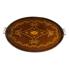 19th Century George III Wood Mahogany Inlay Tea Tray Tables Dishes, 1820s