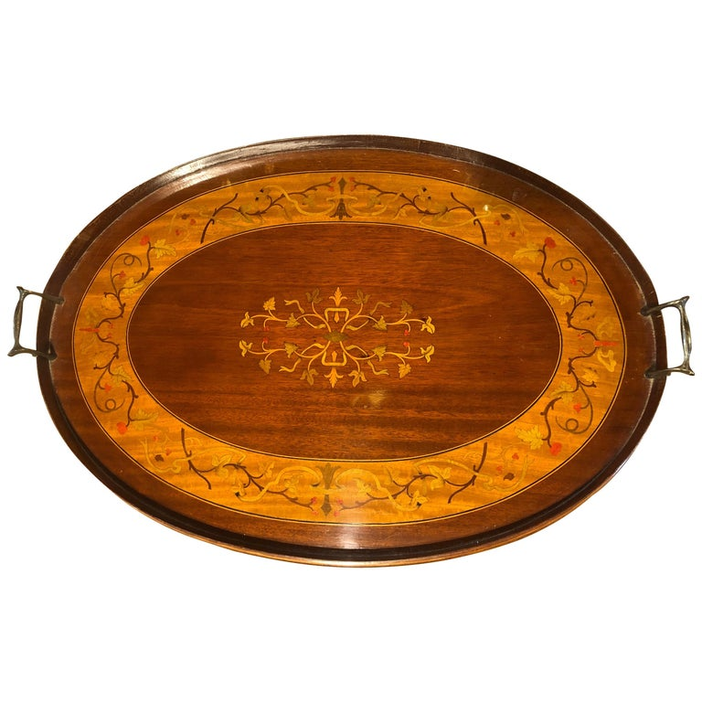 19th Century George III Wood Mahogany Inlay Tea Tray Tables Dishes, 1820s For Sale