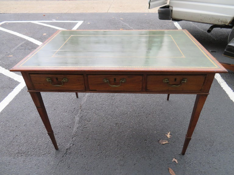 19th Century George III Double-Sided Partner Leather-Top Library Table or Desk 12