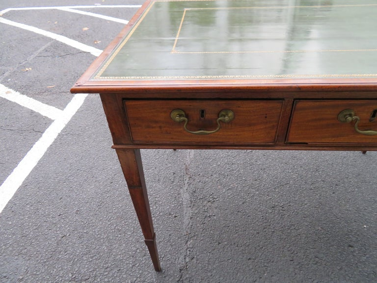 19th Century George III Double-Sided Partner Leather-Top Library Table or Desk 15