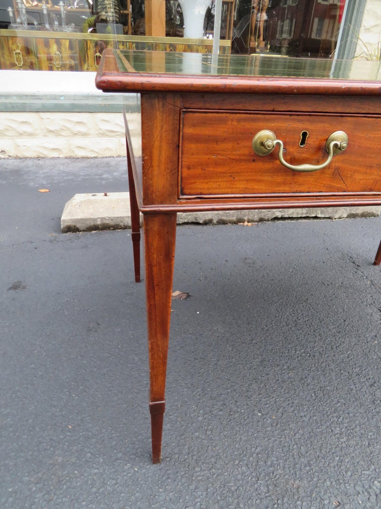 English 19th Century George III Double-Sided Partner Leather-Top Library Table or Desk