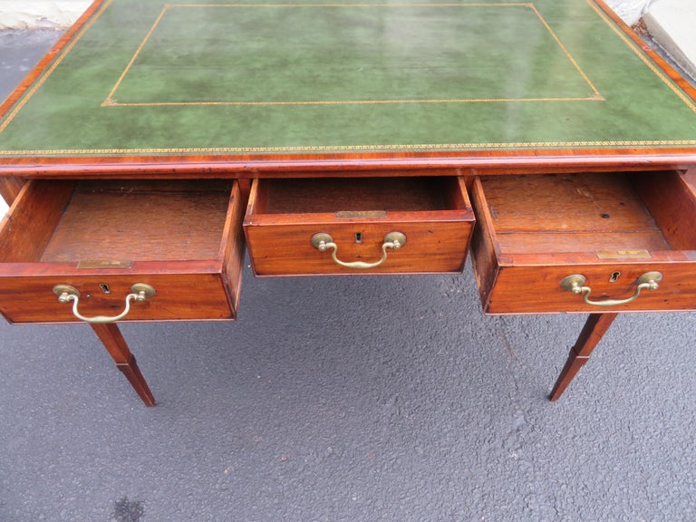 19th Century George III Double-Sided Partner Leather-Top Library Table or Desk 1