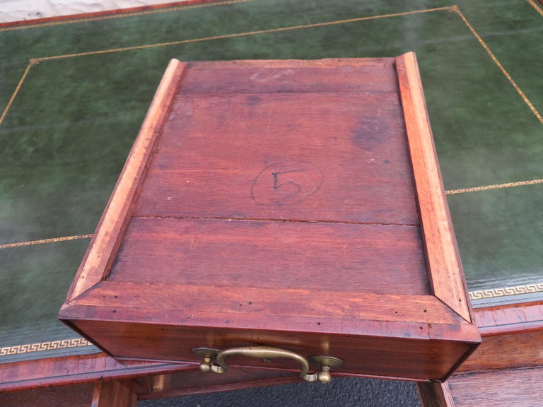 19th Century George III Double-Sided Partner Leather-Top Library Table or Desk 3