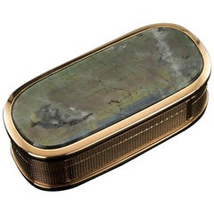 19th Century Georgian 18 Karat Gold-Mounted Labradorite Snuff Box, circa 1820