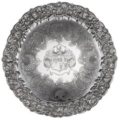 19th Century Georgian Exceptional Solid Silver Salver Tray J E Terrey circa 1825