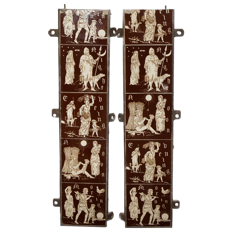 19th Century Rare Minton Hollins Fireplace Tiles
