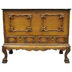 19th Century Georgian George II Style Mahogany Paw Foot Coffer Blanket Chest