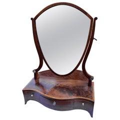 19th Century Georgian Mahogany Shield Shaped Serpentine Dressing Mirror