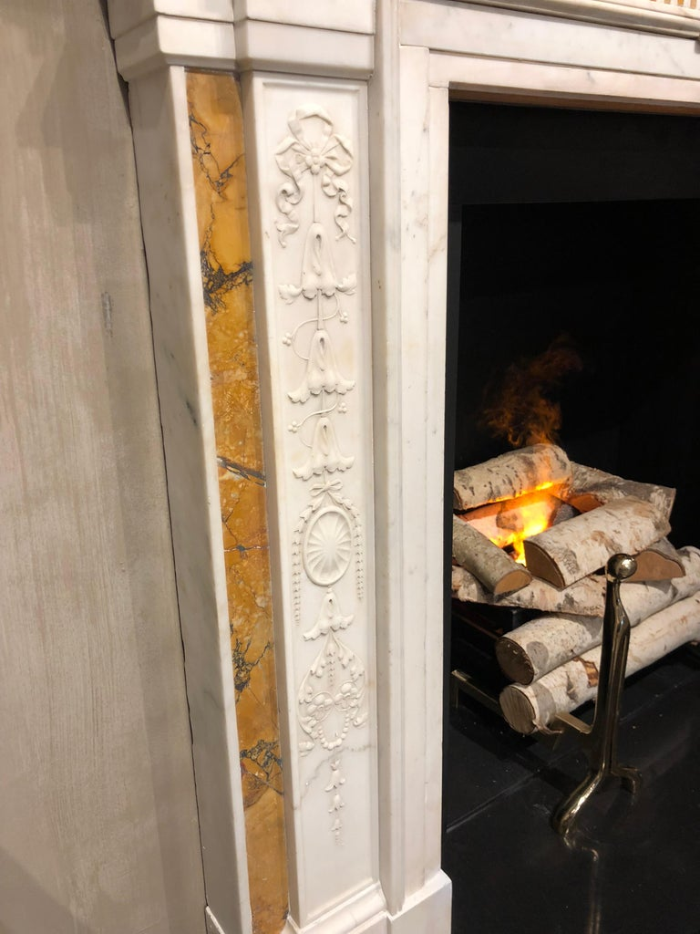 Carved 19th Century Georgian Mantel in Statuary Marble with Siena Inlay 'NY-156' For Sale