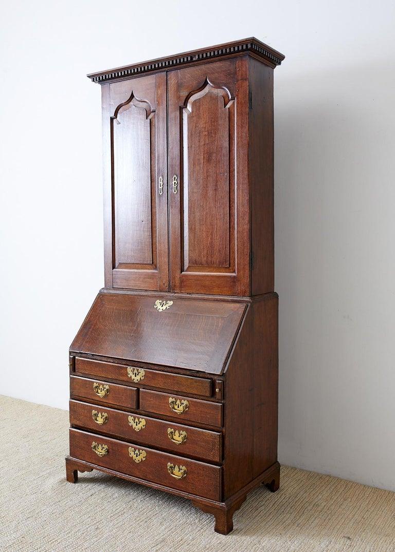 19th Century Georgian Oak Secretary Bookcase Desk For Sale ...