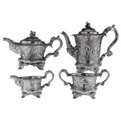 19th Century Georgian Silver Four-Piece Tea and Coffee Set, circa 1821-1893