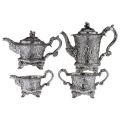 19th Century Georgian Solid Silver Four-Piece Tea and Coffee Set circa 1821-1893