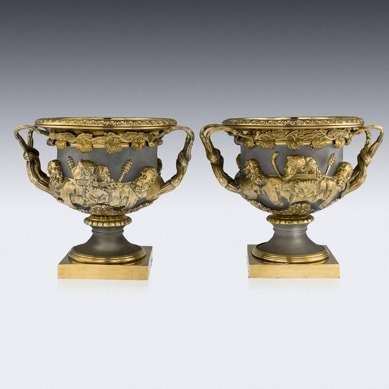 Antique 19th century Georgian exceptionally rare and unusual solid silver-gilt mounted on frosted glass pair of Warwick wine coolers, of typical form on square bases, with pedestal stems and acanthus at base of bowl, the sides applied with classical