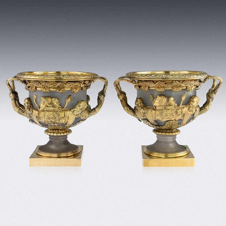 19th Century Georgian Solid Silver-Gilt Warwick Wine Coolers, London, circa 1820 In Good Condition For Sale In London, London