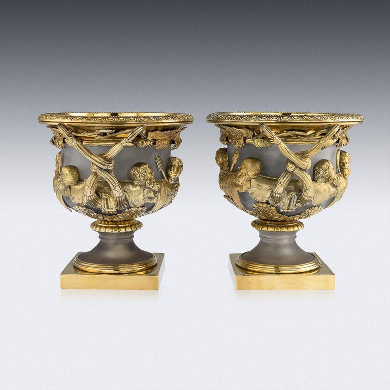 Sterling Silver 19th Century Georgian Solid Silver-Gilt Warwick Wine Coolers, London, circa 1820 For Sale