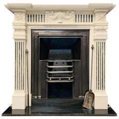 19th Century Georgian Style Carved Statuary Marble Fireplace Surround
