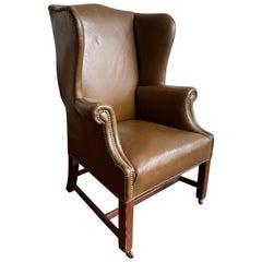 19th Century Georgian Wingchair in Leather