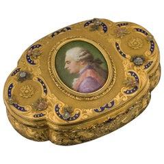 19th Century German 14-Karat Gold and Hand-Painted Enamel Snuff Box, Hanau