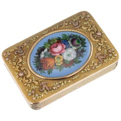 19th Century German 18-Karat Three-Color Gold and Enamel Snuff Box, circa 1860