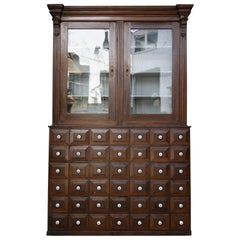 19th Century German Apothecary Cabinet in Original Paint