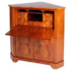 19th Century German Biedermeier Corner Cupboard, Secrétaire, Cherrywood