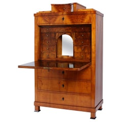 19th Century German Biedermeier Secretaire, Secretary in Cherry and Walnut