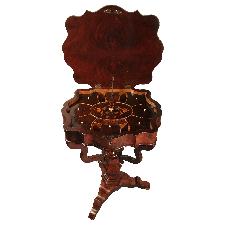 19th Century German Biedermeier Sewing Table, Mahogany