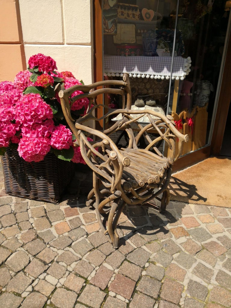 19th Century German Black Forest Antler Trophy Armchair For Sale 5