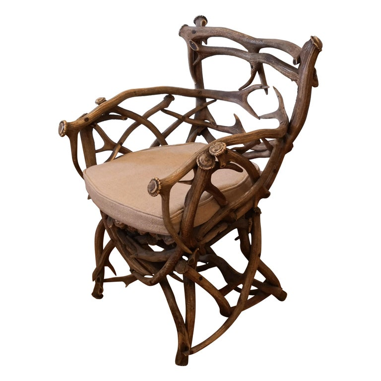 19th Century German Black Forest Antler Trophy Armchair For Sale