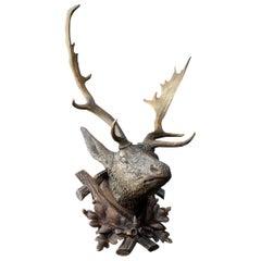 19th Century German Carved Deer's Head Trophy